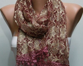 ON SALE --- Cinnamon  Lace Scarf Shawl Scarf Cowl Bridesmaid Gift Bridal accessories Gift Ideas For Her Women Fashion Accessories best selli
