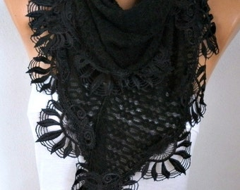 Unique Black Knitted Scarf ,Shawl, Valentine's Day Gift, Cowl with Lace Edge,Bridal Scarf,Winter Scarf,Women Fashion Accessories
