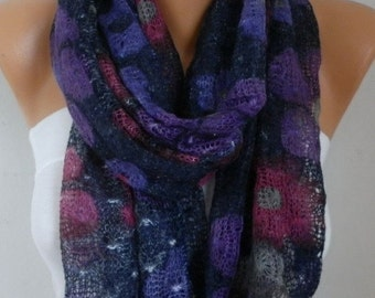 ON SALE --- Floral Knitted Scarf  Cowl  Scarf - Multicolor -Gift Ideas For Her  Women's Fashion Accessories