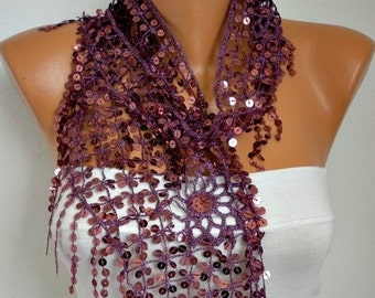 ON SALE --- ON Sale - Sequin Floral Scarf  Shawl Scarf - Belly dance - bellydancer,Cowl Scarf  Women's Fashion Accessories