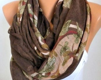 ON SALE --- Coffee DRAGONFLY Print Cotton Scarf,Fall Scarf,Christmas Gift Cowl Oversized Wrap Gift Ideas For Her Women Fashion Accessories W