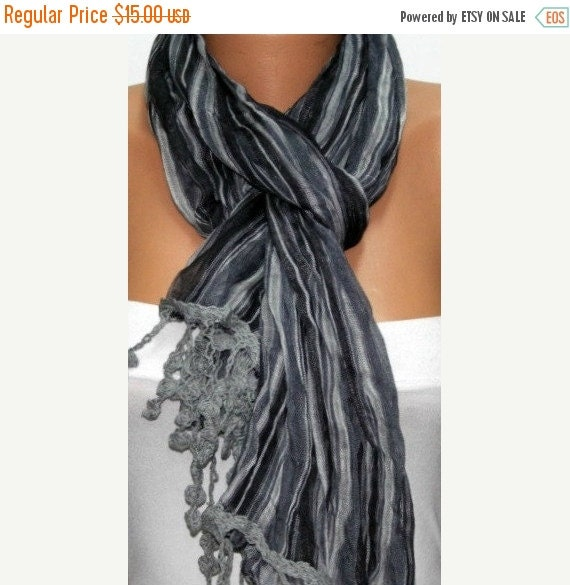 ON SALE --- Gray Unisex Scarf,Christmas Gift  Men Scarf Shawl Scarf  Cowl Scarf Gift Ideas Fashion Accessories