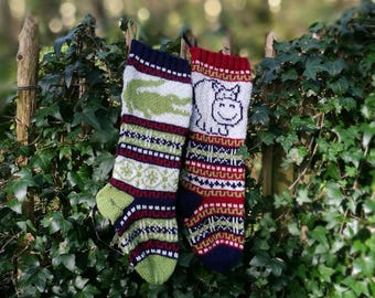 Hippo Fair Isle knit, Croco Fair Isle Knit, knit Christmas stocking, Stranded knit crocodile, FairIsle Hippopotamus, Knitting pattern