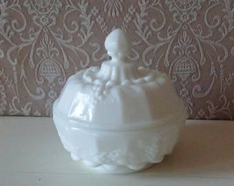 Milk Glass, Westmoreland, Collectible White Milk Glass, Small Candy Dish with lid, Vintage Home decor, Shabby Cottage, Savannah's Cottage
