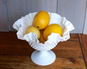 Vintage Fenton Hobnail Milk Glass Ruffled Fruit Bowl/ Pedestal Fruit Bowl / White Glass Pedestal Bowl