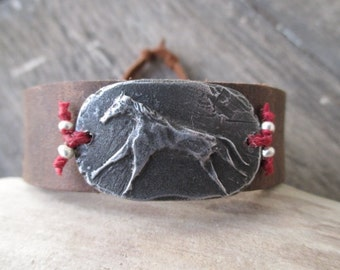 Horse rustic distressed leather Cuff bracelet - Freedom - equestrian wild horse red boho by slashKnots