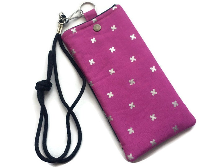 Bright Pink Cell Phone Necklace - Wearable Wallet - Retro Phone - Gift Under 15