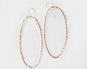 Hammered Fine Metal Oval Earrings / 3 Inch Textured Simple Earrings / Yellow or Rose Gold or Sterling Silver / Simple Earrings / Textured