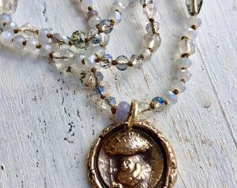 Mushroom Man Bronze Beaded Necklace