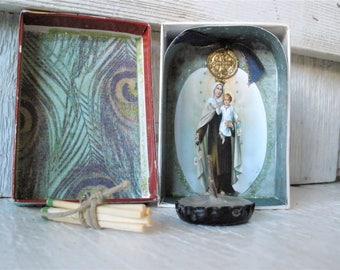 Pocket shrine prayer box Christian Mary icon upcycled embellished saint medals