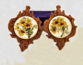 Vintage Wall Decor, Yellow Flowers, Hand Made Decor, Yellow Daisies, Ceramic Decor, Home Accent, Bedroom Decor, Bathroom Kitchen Decor