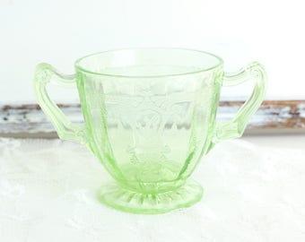 Green Depression Glass Sugar Dish Green Glass Sugar Dish
