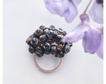 Black Gemstone Cocktail Ring / Botswana Agate Ring / Black Stone Ring / Cluster Ring / Adjustable Ring / Semi Precious Ring / Gemini stone