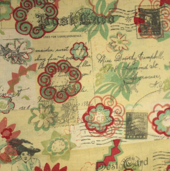 Travel fabric,Stamps fabric,Rose Wing Floral Medallion Susan Winget,100 percent cotton,Quilt fabric,Craft fabric,Fabric by the FAT QUARTER