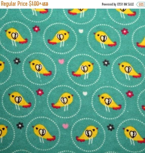 Bird Flannel Fabric for JoAnn Fabrics 100% Cotton Quilt Apparel Sewing Craft Birds Flowers Hearts on Green Children's Nursery