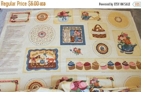 Kelly's Sweet Treats 22184 Fabric Panel for Red Rooster 23x45 Easy Sew Quick Sew Do It Yourself Gift Tags Jar Toppers Cupcakes Tea Cozy