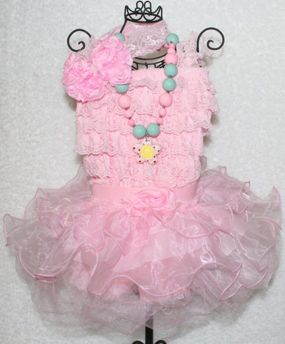 Pink Ruffle Tutu Outfit,Cake Smash Outfit,Girls First Birthday Outfit,Chunky Bubblegum Necklace,Pink Lace Headband,Ruffle Skirt,FAST SHIP