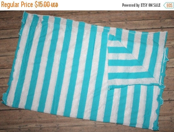 """ON SALE Aqua and White Lace Sweater Knit Open End Scarf 26"""" x 58"""" Lightweight Soft Ruffled Edge Women's Accessories Made in the USA"""