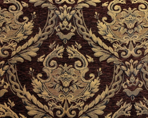 "Damask Tapestry Fabric,Tapestry Fabric,Golden Brown Tapestry Fabric,Upholstery Fabric,Home Decor Fabric,END OF BOLT 42"" by 56"" Wide"