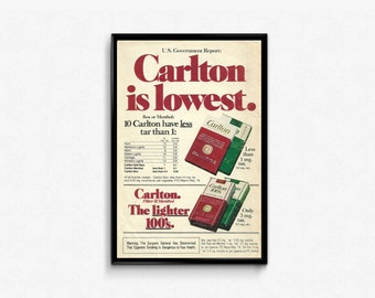 Neat Bar Sign • Hard to Buy For Guy • Vintage Cool Smoke Carlton Cigarettes • Simple Bar Design • Smokers Birthday Gift • Retro Papers Ad
