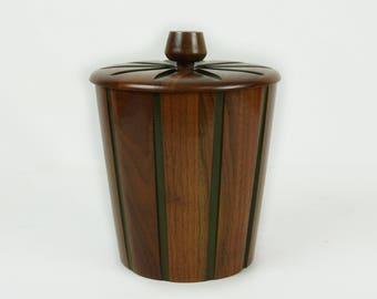 Mid Century modern ice bucket / Vintage ice bucket / Mcm mad man bar / Bar cart accessories / Walnut ice bucket