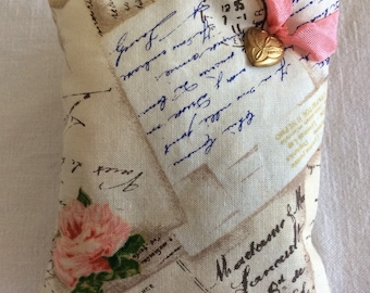 French Lavender Sachet Pillow, Metal Heart Charm (#1328)