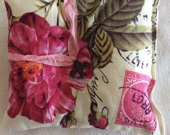 French Lavender Sachet Pillow, Fleur de Lis Charm (#1329)