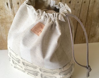 Sheep Print Knitting Project Bag, Drawstring, Linen Blend