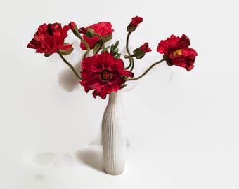 Red Poppy Arrangement, Floral Arrangement, Red Poppies, Red Florals, Faux Arrangement, Home Decor, Floral Decor, Red Arrangement