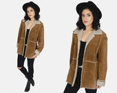RESERVED Jessica Beaver // Suede SHERPA Leather Jacket Vtg 80's St. John's Bay Brown Faux Fur Soft Shearling Country Rancher Coat - Large/XL