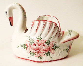 Elegant Hand-Painted SWAN ART POTTERY Planter - Jardinier - Fruit Bowl from Portugal Signed L.V.  by Reel/Rccl