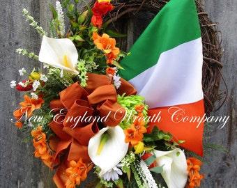 St Patrick's Day Wreath, Irish Wreath, Irish Flag, Flag of Ireland, Spring Wreath, Floral Wreath, Woodland Wreath, Elegant Irish Décor