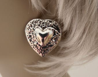 Sterling Silver Repousse Heart Earrings Clip On Mexico 925