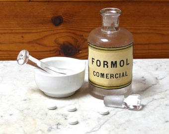 Vintage Apothecary Pharmaceutical Medicine Jar/Bottle with Ground Stopper Authentic Label Formol Comercial