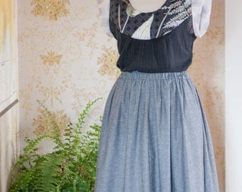 Connie Skirt Charcoal Cotton