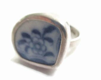 Broken China Jewelry, Blue Flower Ring, Sterling Silver, Any Size, OOAK, Broken Plate, Dish, Broken China Ring, Recycled. Upcycled
