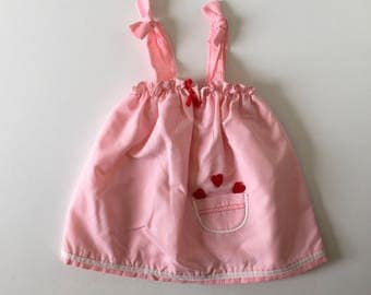 1980's Pink Gigham Heart Pocket Sund Dress-Top (2t/4t)