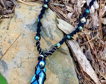 Aqua Aura Quartz Necklace Wrapped In Black Hemp With Glass And Silver Beads & Silver Wire Accents