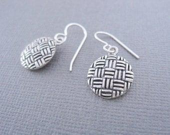 Patchwork Earrings, Criss Cross Pattern Earrings, Silver Earrings, Basketweave Pattern Earrings, Round Dangle Earrings, Sterling Silver