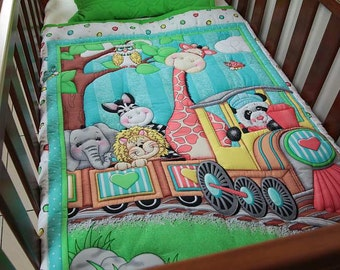 Quilt Baby Bazooples Train Ride with matching Pillow case
