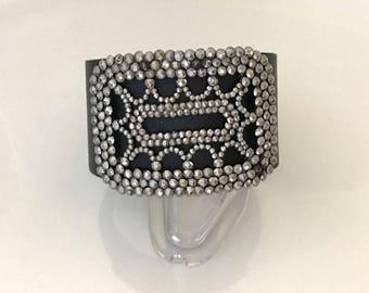 Black Leather Statement Bracelet - Repurposed Cut Steel Buckle Bracelet - Gift for Her Leather Cuff Bracelet - Rocker Rock n Roll Jewelry