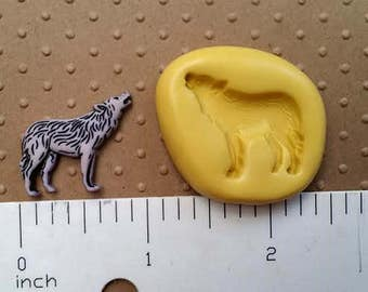 WOLF MOLD SILICONE flexible food safe 4 fondant chocolate candy polymer clay cake pops oreo candle soap embeds jewelry wolves indian arctic