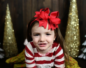 Red Christmas Hair bow , Hair bow or headband, over the top , 5.5 inch hair bow for girls , Large red hair bow