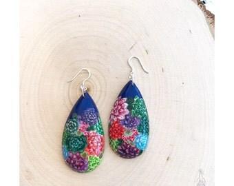Hand Painted Wood Earrings
