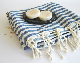 SALE 25% OFF Traditional Turkish Towel: Peshtemal,  Bath, Beach, Spa Towel, Blue Striped, mother's day gift, father's day gift