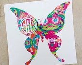 Lily Pulitzer Inspired Monogram Decal, Monogram Decal, Custom Butterfly Decal, Butterfly Decal, Vinyl Decal, Vinyl Sticker, Yeti Decal