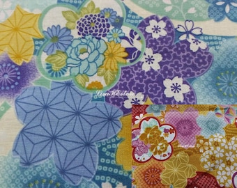 Japanese floral motif, 1/2 yard, pure cotton fabric