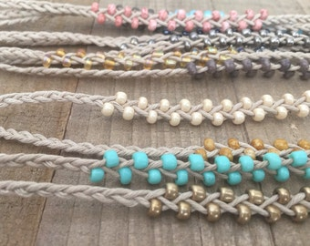 Beaded Friendship Bracelet - 16 Bead Color Options & 6 Sizes from Kids to Adults.