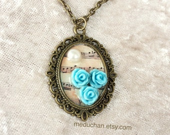 Blue small roses with music note Vintage steampunk Bronze tone Neckalce