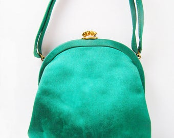 Formal Purse by Morris Moskowitz in Emerald Green Satin with Bow detail, Holiday Handbag with Coin Purse - CLOSING Sale
